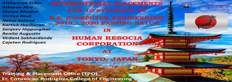 Fr. CRCE,Bandra Human Resocia Placement,  2019 - 20 Batch Computer Sc.